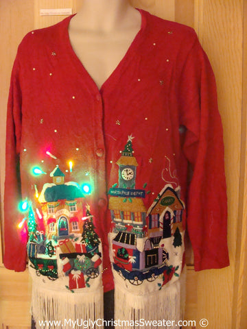 Red Christmas Sweater with Fringe and Lights Winter Town (g232)