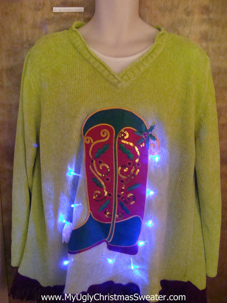 competitive price cac10 253bf Ride em Cowboy Light Up Ugly Xmas Sweater with Fringe 3XL