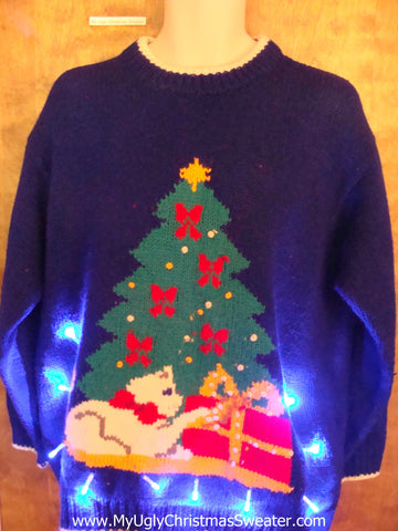 Crazy Cat Lady 80s Best Light Up Ugly Xmas Sweater