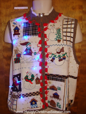 Funny Cute Light Up Ugly Xmas Sweater Vest with Pom Poms