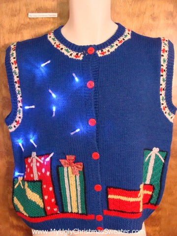 Cute Blue 80s Light Up Ugly Xmas Sweater Vest with Gifts