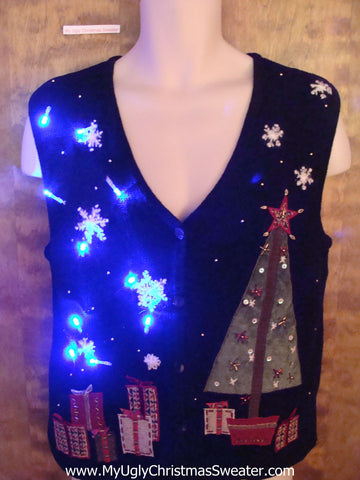 Nighttime Tree and Gifts Light Up Ugly Xmas Sweater Vest