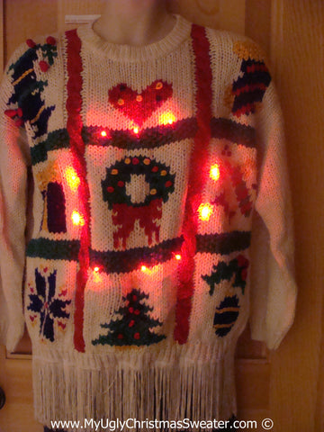 80s Christmas Sweater with Lights and Fringe (g233)