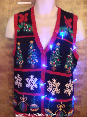 Fun 2sided Busy Light Up Ugly Xmas Sweater Vest