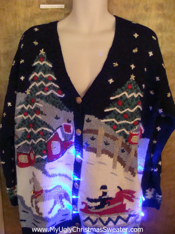 Horse and Buggy 80s Light Up Ugly Xmas Sweater