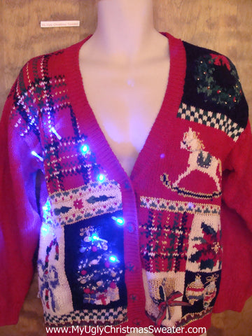 Plaid Tacky Funny Light Up Ugly Xmas Sweater