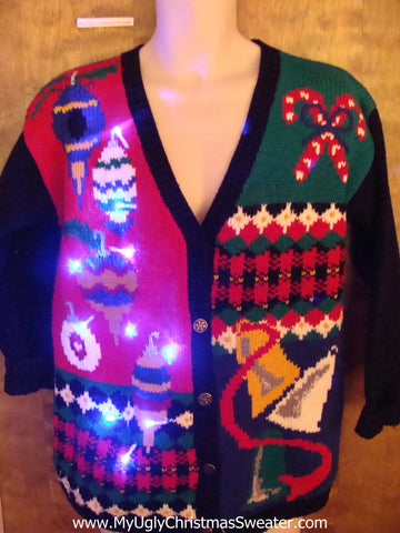 Colorful Fun Ornaments 80s Light Up Ugly Xmas Sweater
