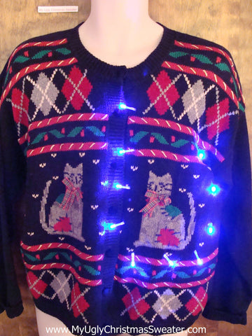 Crazy Cat Lady Funny Light Up Ugly Xmas Sweater