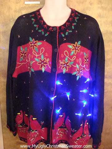Poinsettias 80s Light Up Ugly Xmas Sweater Big 3XL XXL