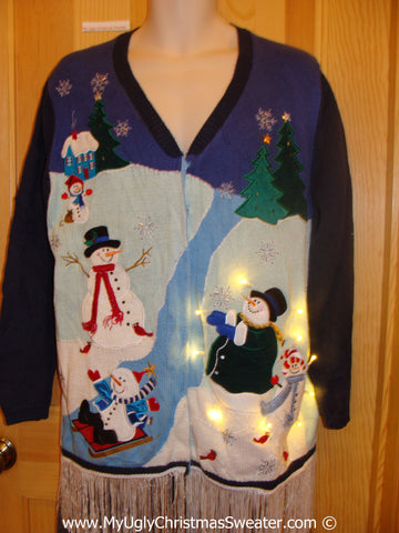 Two Sided Christmas Sweater with Lights and Fringe Snowmen (g234)
