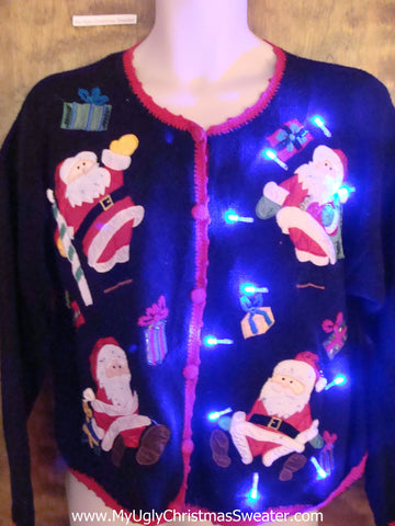 Four Athletic Santas Light Up Ugly Xmas Sweater
