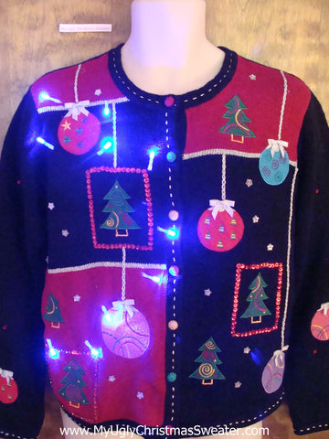 Cute Fun Ornament Themed Light Up Ugly Xmas Sweater