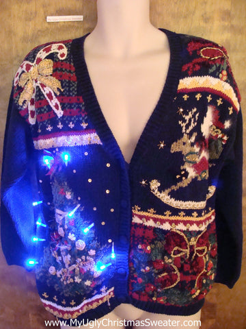 Ornate 80s Horrible Light Up Ugly Xmas Sweater