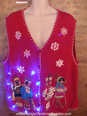 BEST Skiing Bears Funny Light Up Ugly Xmas Sweater Vest 4XL XXXL