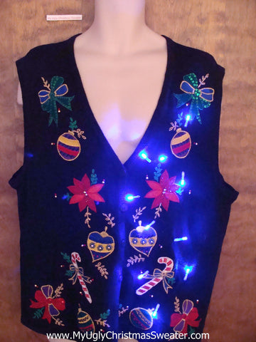 Tacky Poinsettia and Ornaments Light Up Ugly Xmas Sweater Vest