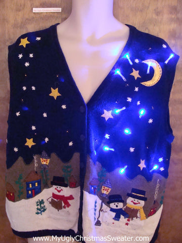 Winter Themed 2sided Light Up Ugly Xmas Sweater Vest