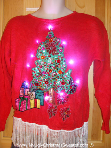 Red Christmas Sweater with Lights, Fringe, and Tree (g235)