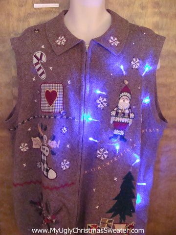 Crafty Brown Horrible Light Up Ugly Xmas Sweater Vest