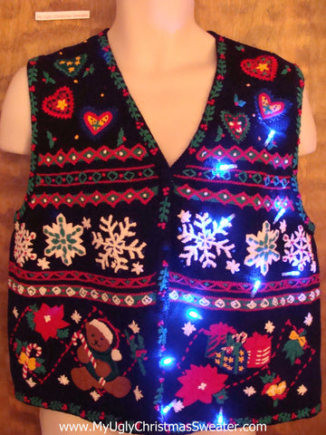 Cute TackyLight Up Ugly Xmas Sweater Vest