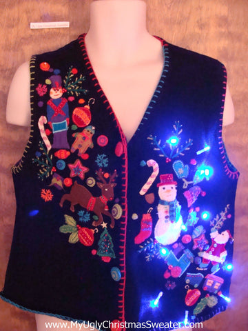 Tons of Little Decorations Light Up Ugly Xmas Sweater Vest