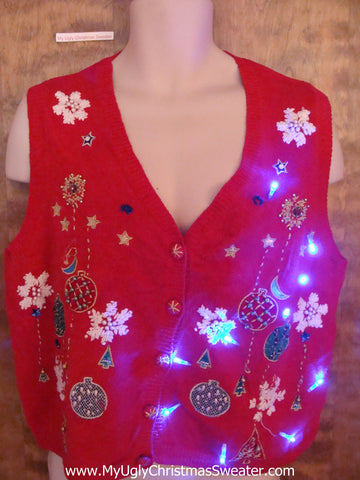 Ornaments and Snowflakes Light Up Ugly Xmas Sweater Vest