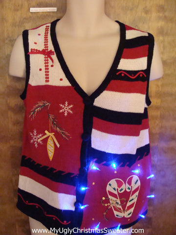 Horrible Striped Light Up Ugly Xmas Sweater Vest