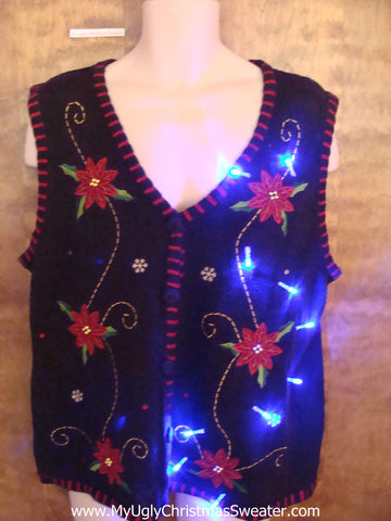 Tacky Poinsettias Light Up Ugly Xmas Sweater Vest