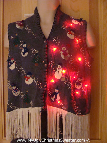 Snowman Christmas Sweater Vest with Lights and Fringe (g236)