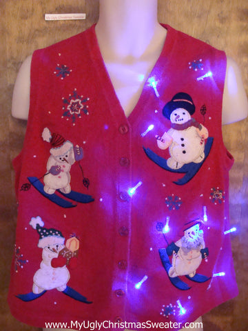 Cute Skiing Snowmen Light Up Ugly Xmas Sweater Vest