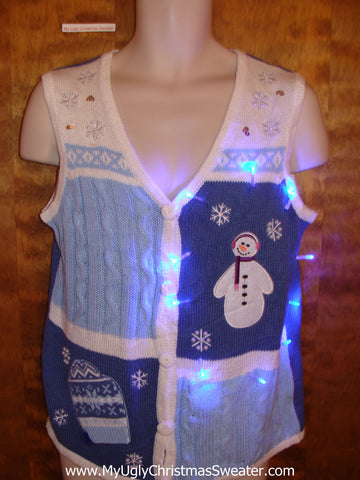 Cute Baby Blue Light Up Ugly Xmas Sweater Vest