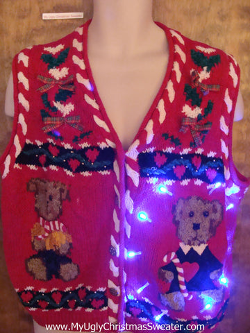 Tacky Teddy Bears Light Up Ugly Xmas Sweater Vest