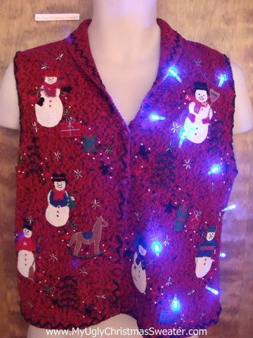 Snowman Party Light Up Ugly Xmas Sweater Vest