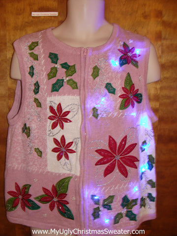 Pink Poinsettia Light Up Ugly Xmas Sweater Vest