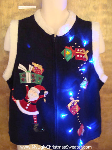 Funny Santa with Gifts Light Up Ugly Xmas Sweater Vest