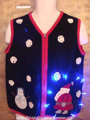 Santa and Snowman Two Sided Light Up Ugly Xmas Sweater Vest