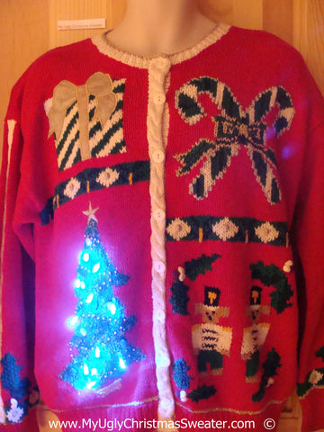 80s Christmas Sweater with Lights Tree, Nutcracker, Candycanes (g237)