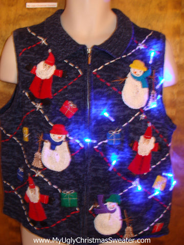 Colorful Santa and Snowmen Light Up Ugly Xmas Sweater Vest