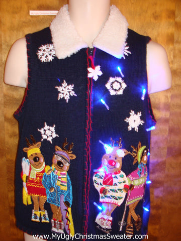 Funny Skiing Bears Light Up Ugly Xmas Sweater Vest