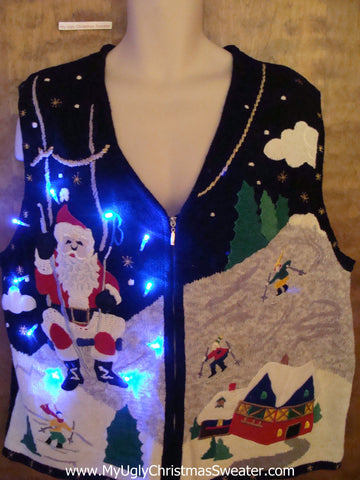 Santa on a Ski Lift Light Up Ugly Xmas Sweater Vest