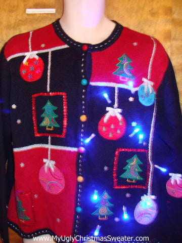 Ornate Ornaments Light Up Ugly Xmas Sweater