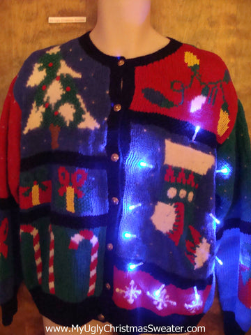 Stocking and Candycane Light Up Ugly Xmas Sweater