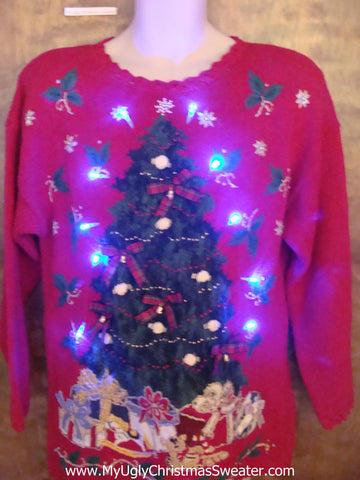 Tacky 80s Tree Red Light Up Ugly Xmas Sweater