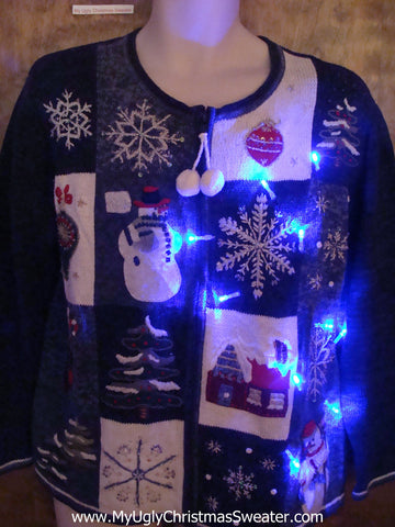 Blue Fun Light Up Ugly Xmas Sweater with PomPom Zip Pull