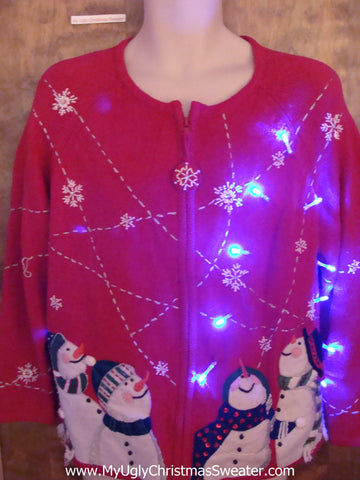Four Carrot Nosed Snowmen Light Up Ugly Xmas Sweater