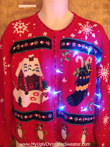 Red Gingerbread House Light Up Ugly Xmas Sweater