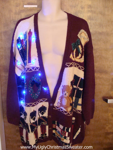 Tacky Nutcrackers Light Up Ugly Xmas Sweater