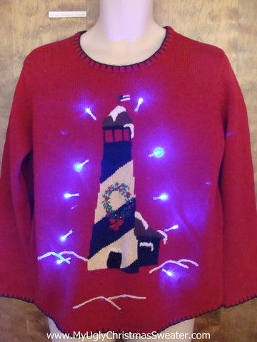 Lighthouse with Wreath Light Up Ugly Xmas Sweater