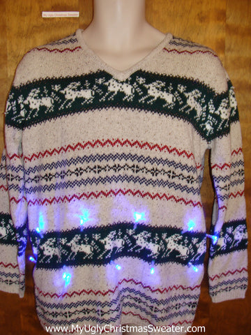 Reindeer Conga Line Light Up Ugly Xmas Sweater