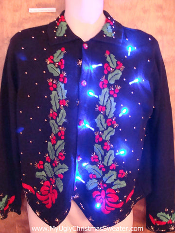 Ivy and Bows Light Up Ugly Xmas Sweater