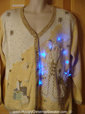 Bling 80s Christmas Sweater with Santa and Lights (g239)